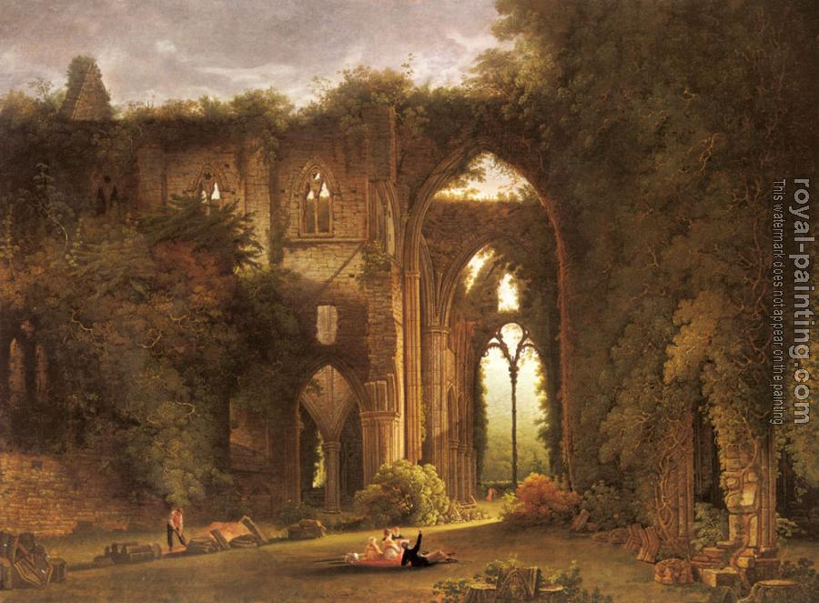 Samuel Colman : Tintern Abbey With Elegant Figures