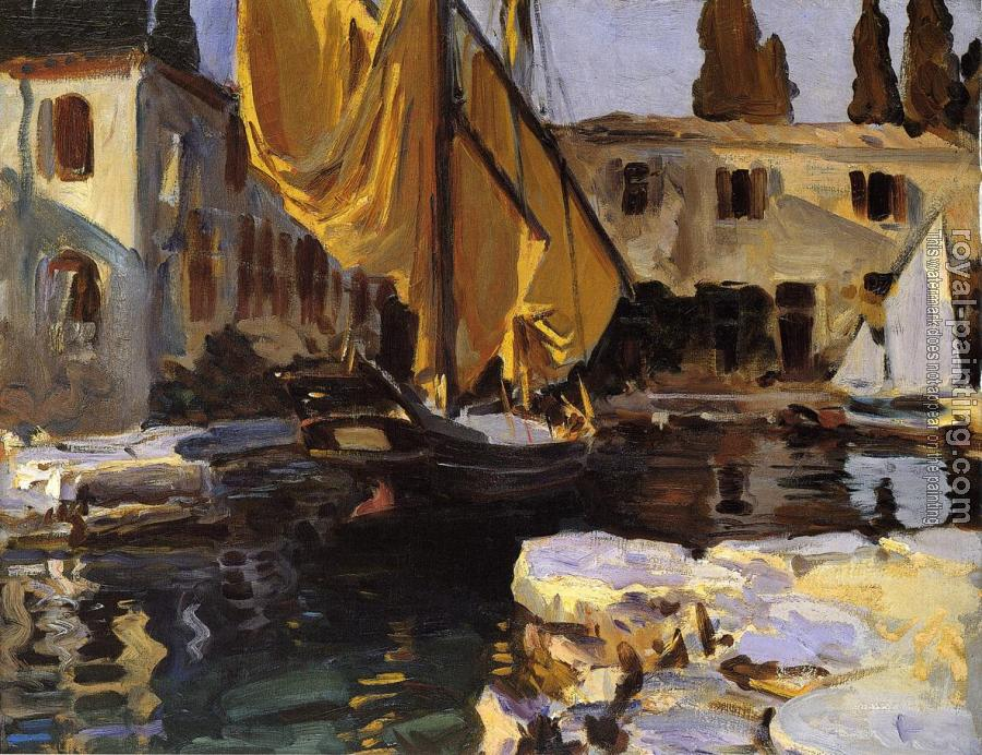 John Singer Sargent : Boat with The Golden Sail, San Vigilio