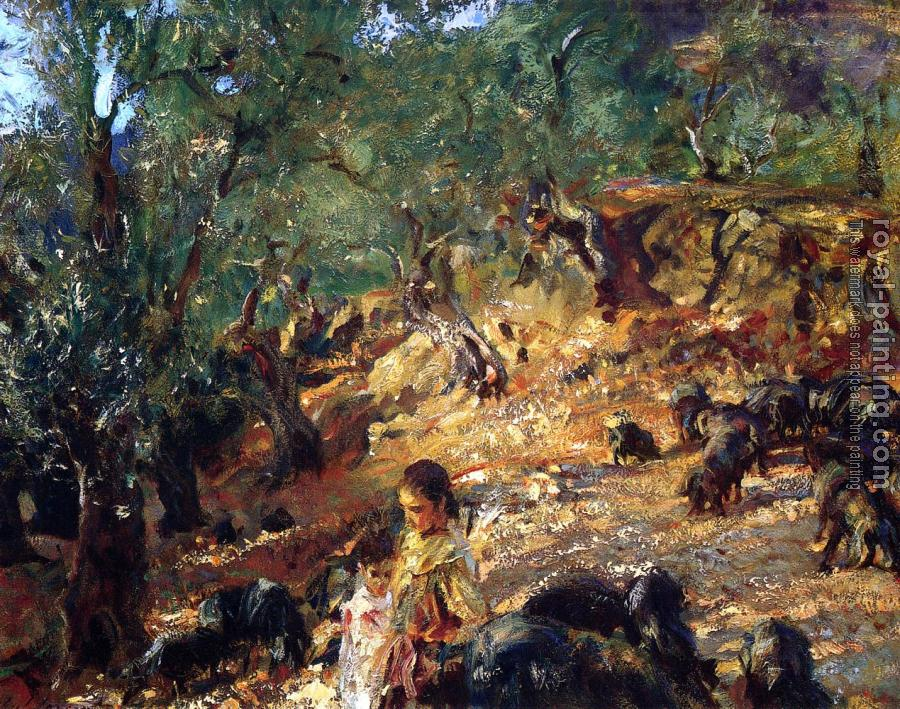 John Singer Sargent : Ilex Wood at Majorca with Blue Pigs
