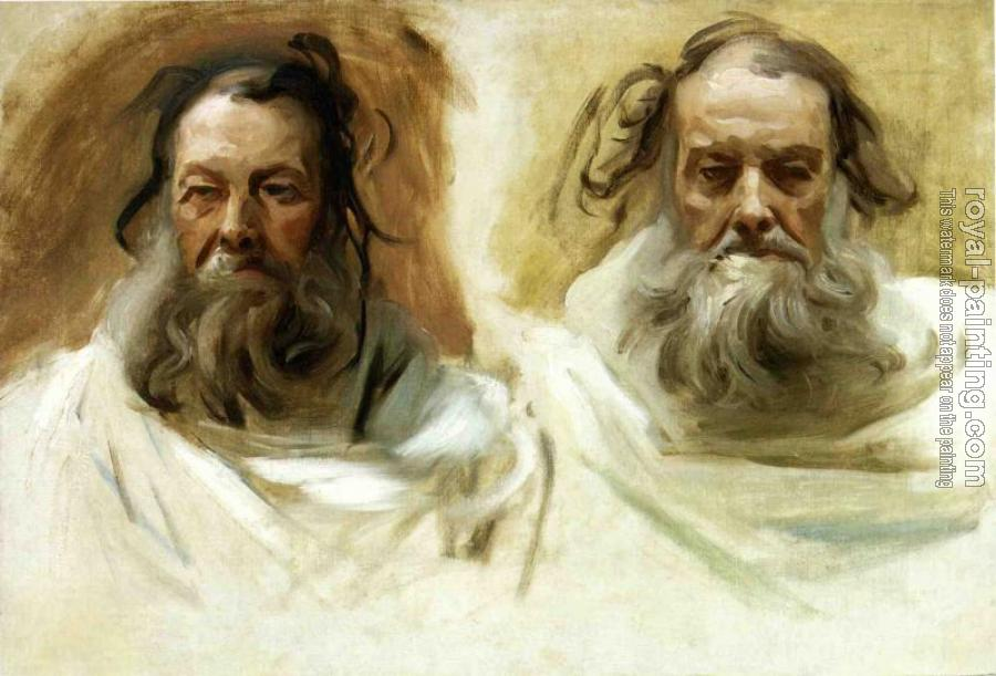 John Singer Sargent : Study for Two Heads for Boston Mural,The Prophets
