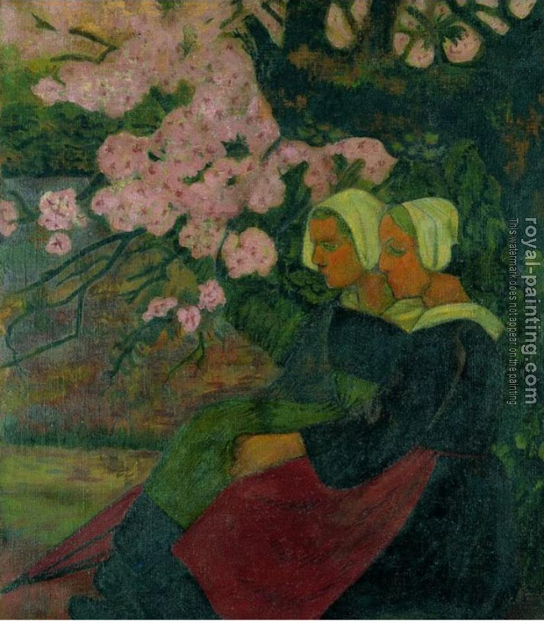 Paul Serusier : Two Breton Women under a Flowering Apple Tree II