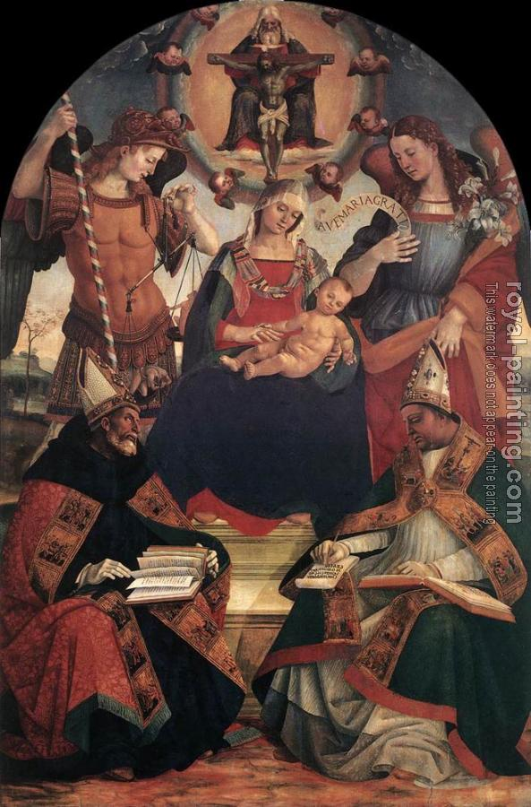 Luca Signorelli : The Trinity, the Virgin and Two Saints