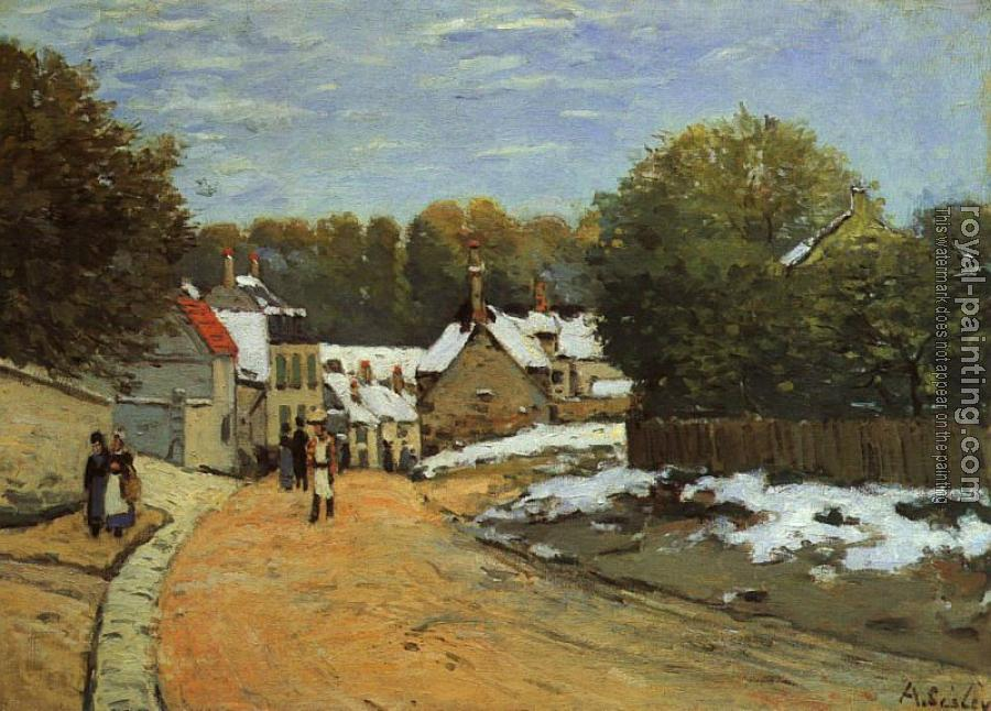 Alfred Sisley : Early Snow at Louveciennes