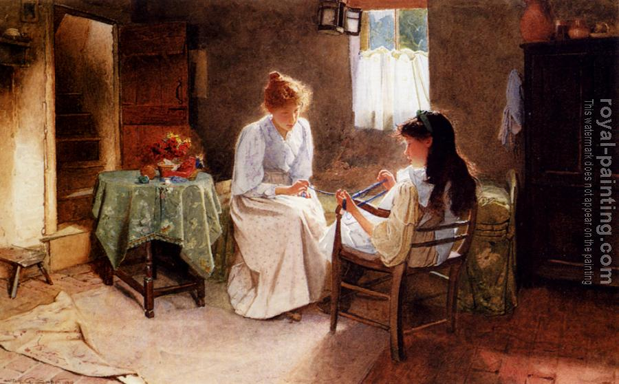 Carlton Alfred Smith : Two Girls In An Interior Winding A Skein Of Wool