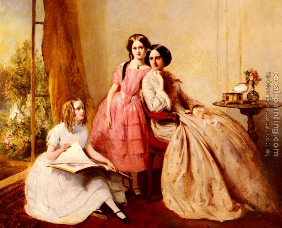 Abraham Solomon : A Portrait Of Two Girls With Their Governess