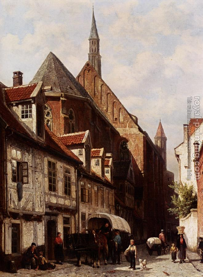 Cornelis Springer : A Busy Street In Bremen With The Saint Johann Church In The Background