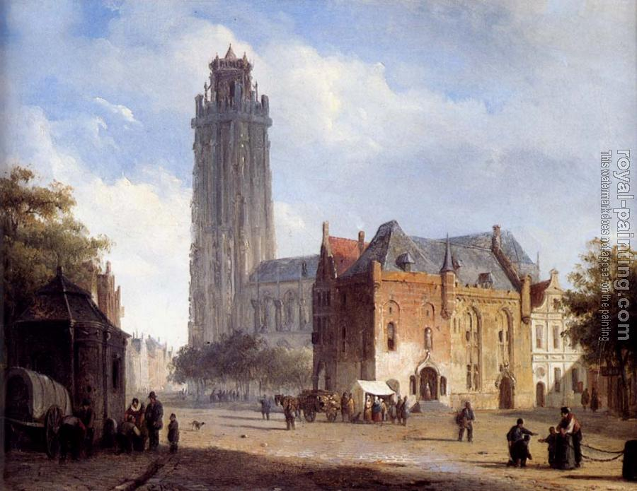 Cornelis Springer : A Cathedral On A Townsquare In Summer