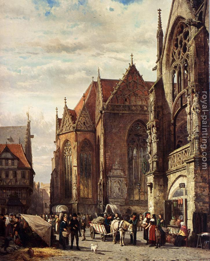 Cornelis Springer : Many Figures On The Market Square In Front Of The Martinikirche Braunschweig