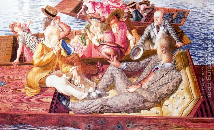 Stanley Spencer : Christ Preaching at Cookham Regata Punts Meeting