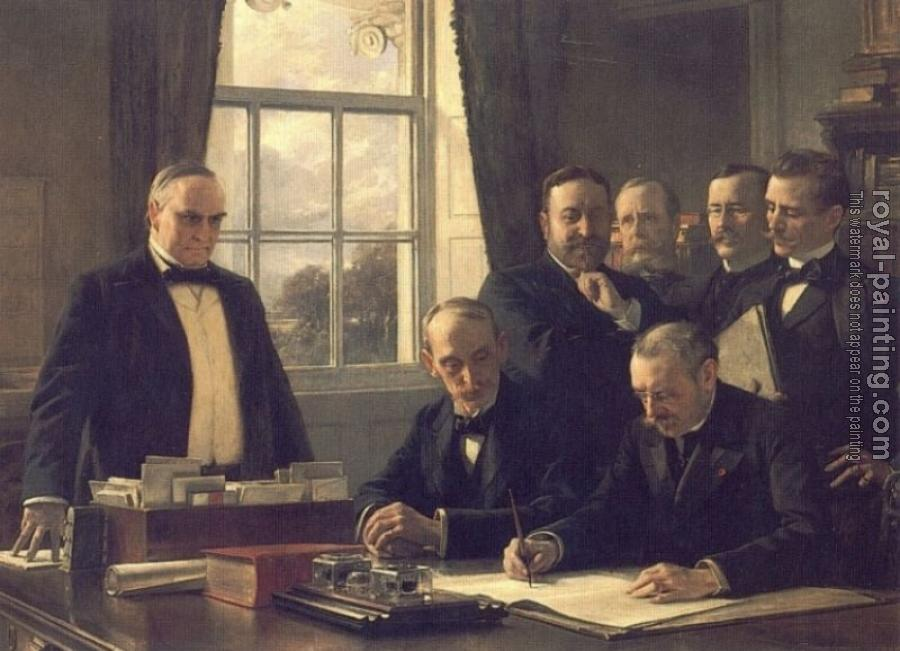 Theobald Chartran : The Signing of the Protocol of Peace Between the United Stat
