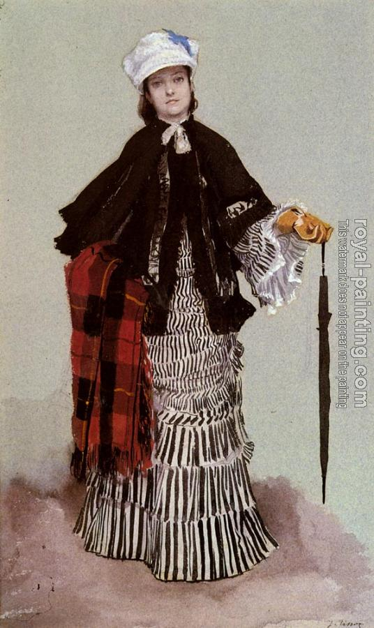 James Tissot : A Lady In A Black And White Dress