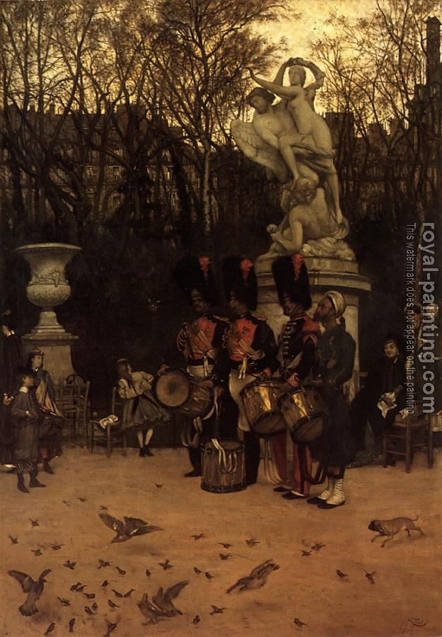 James Tissot : Beating the Retreat in the Tuileries Gardens
