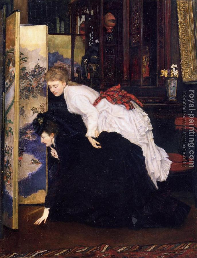 James Tissot : Young Women Looking at Japanese Objects
