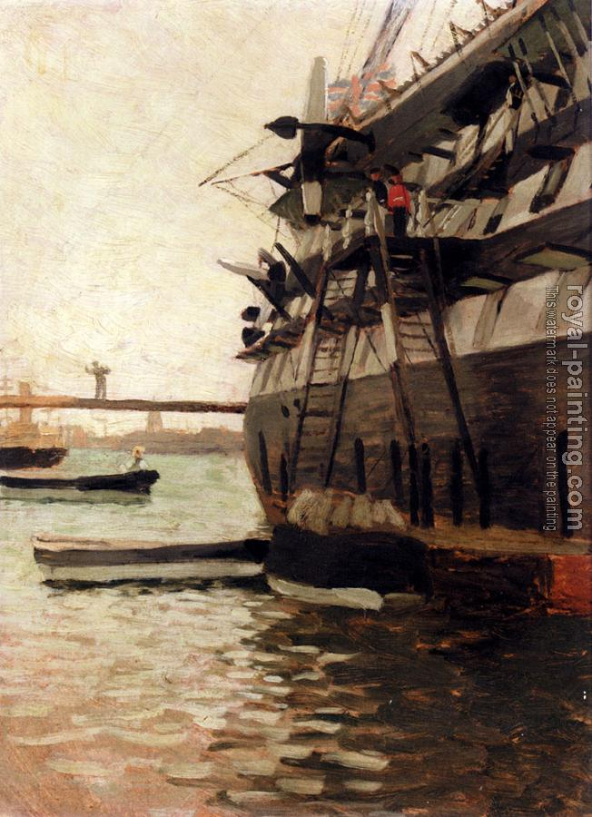 James Tissot : The Hull Of A Battle Ship
