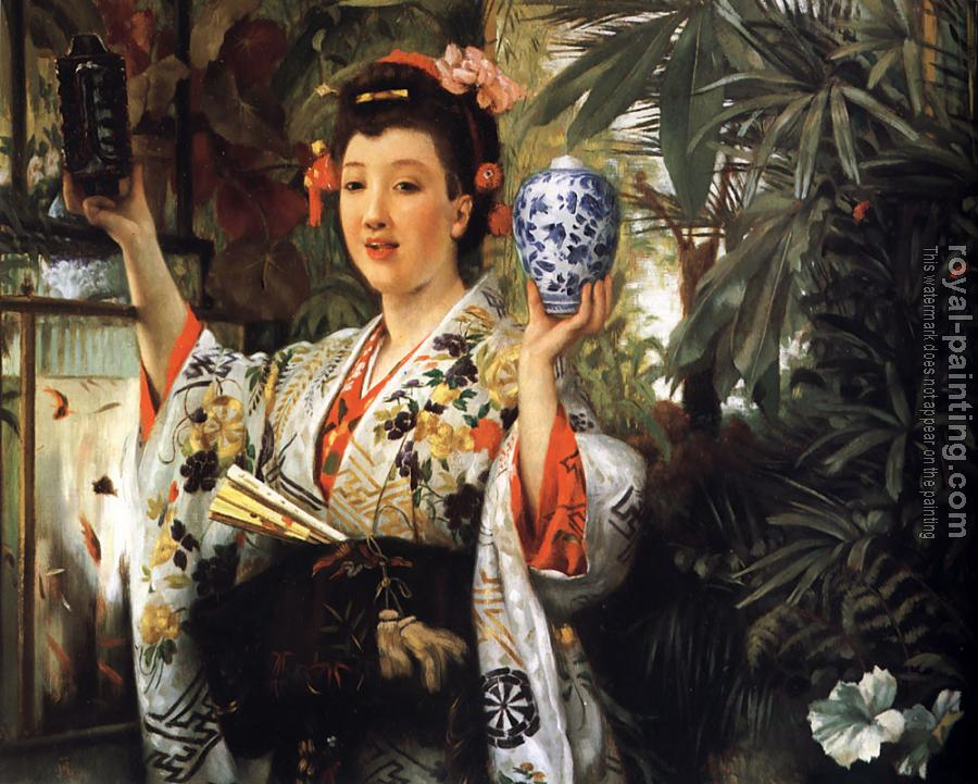 James Tissot : Young Lady Holding Japanese Objects