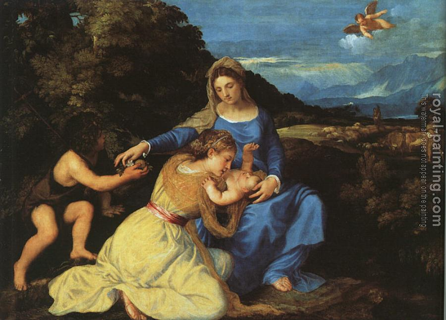 Titian : Madonna and Child with the Young St. John the Baptist and St. Catherine