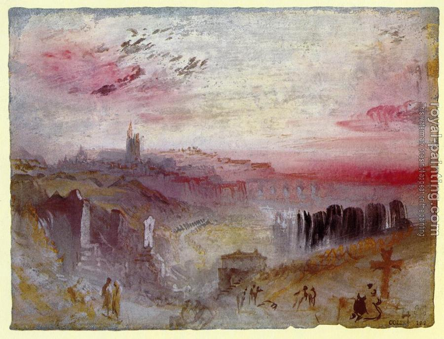 Joseph Mallord William Turner : View over Town at Suset,a Cemetery in the Foreground