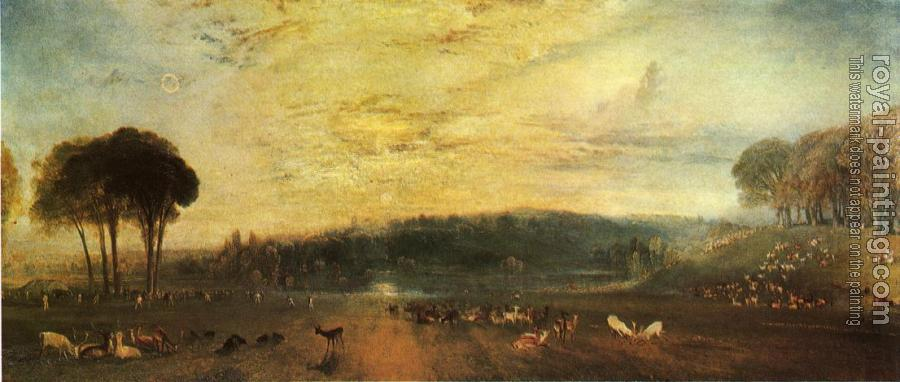 Joseph Mallord William Turner : The Lake, Petworth,sunset, fighting bucks