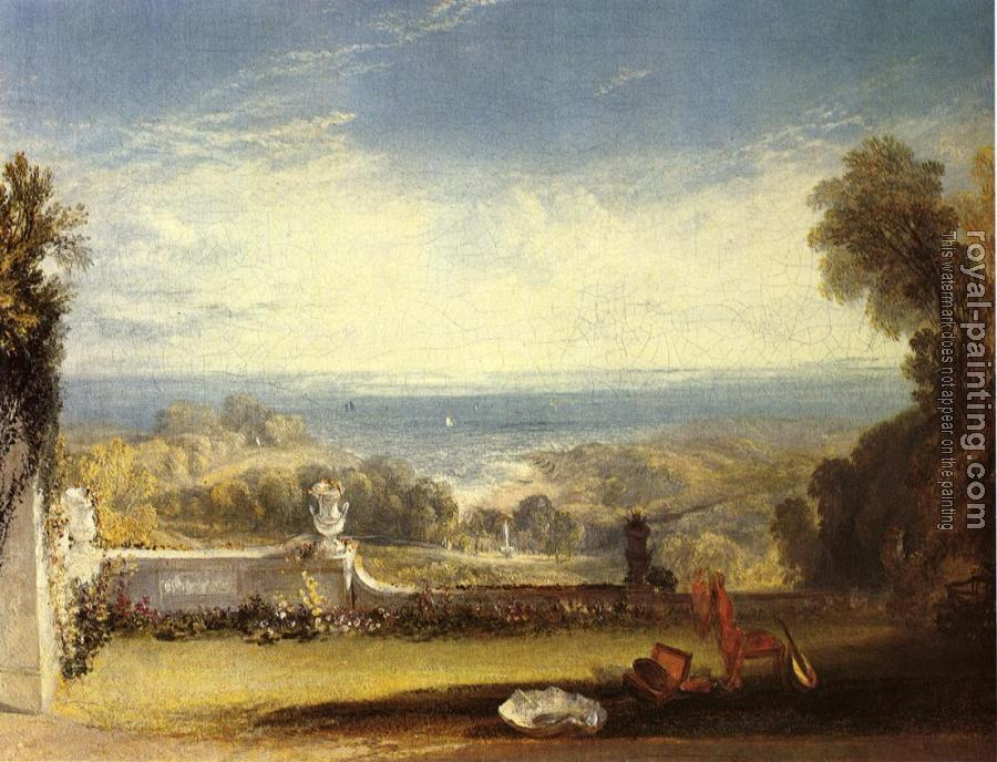 Joseph Mallord William Turner : View from the Terrace of a Villa at Niton, Isle of Wight, from sketches by a lady