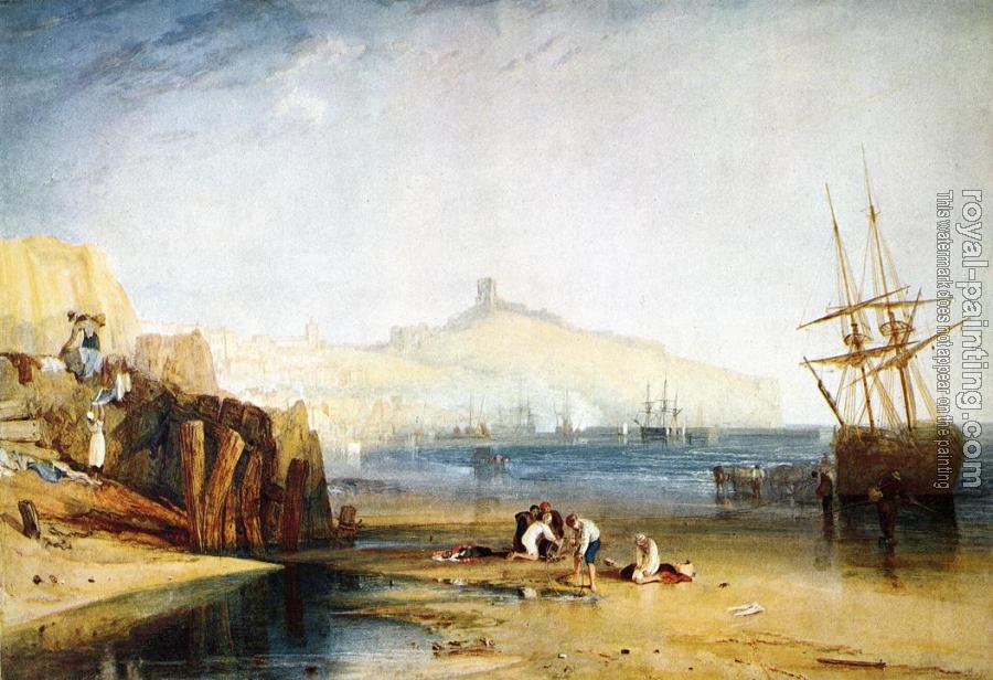 Joseph Mallord William Turner : Scarborough Town and Castle,Morning,Boys Catching Crabs
