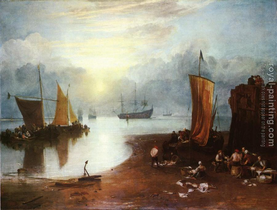 Joseph Mallord William Turner : Sun Rising through Vagour, Fishermen Cleaning and Sellilng Fish