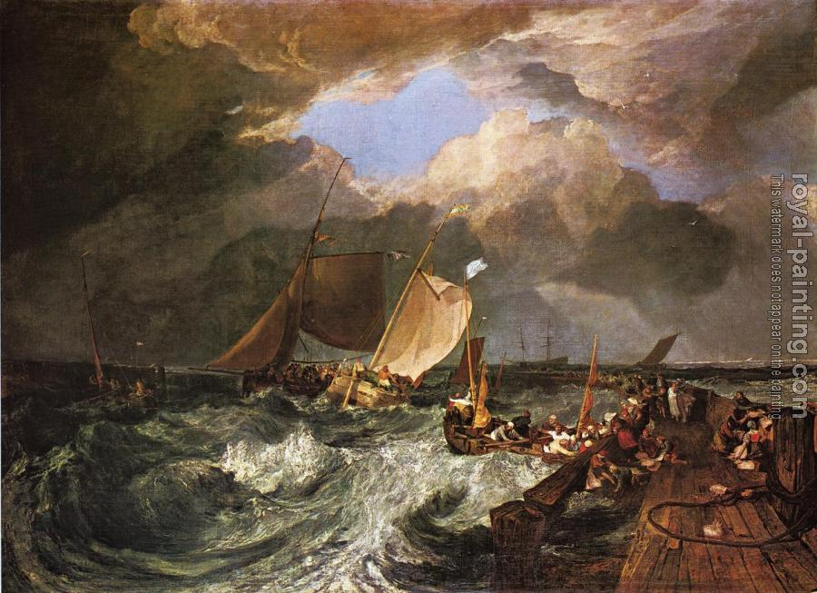 Joseph Mallord William Turner : Calais Pier, with French Poissards Preparing for Sea,an English Packeet Arriving