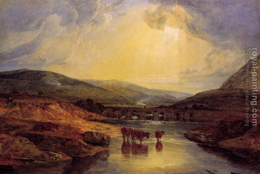 Joseph Mallord William Turner : Abergavenny Bridge, Monmountshire, clearing up after a showery day