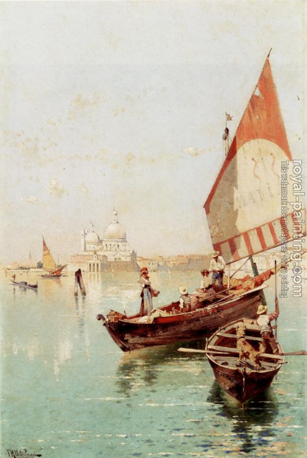 Franz Richard Unterberger : Sailboat In A Venetian Lagoon