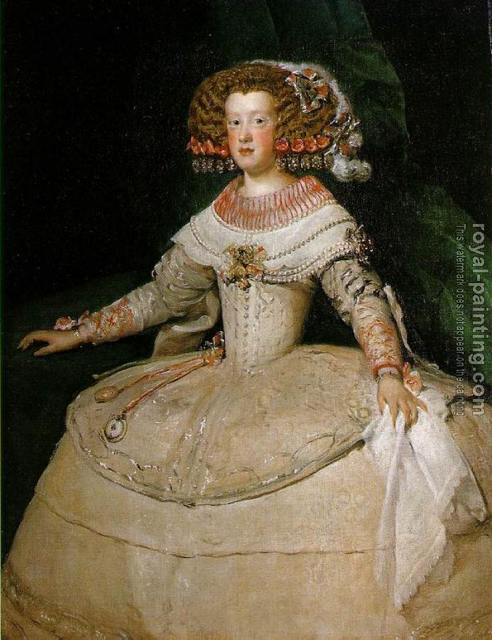 Diego Rodriguez De Silva Velazquez : Maria Teresa of Spain with the two watches