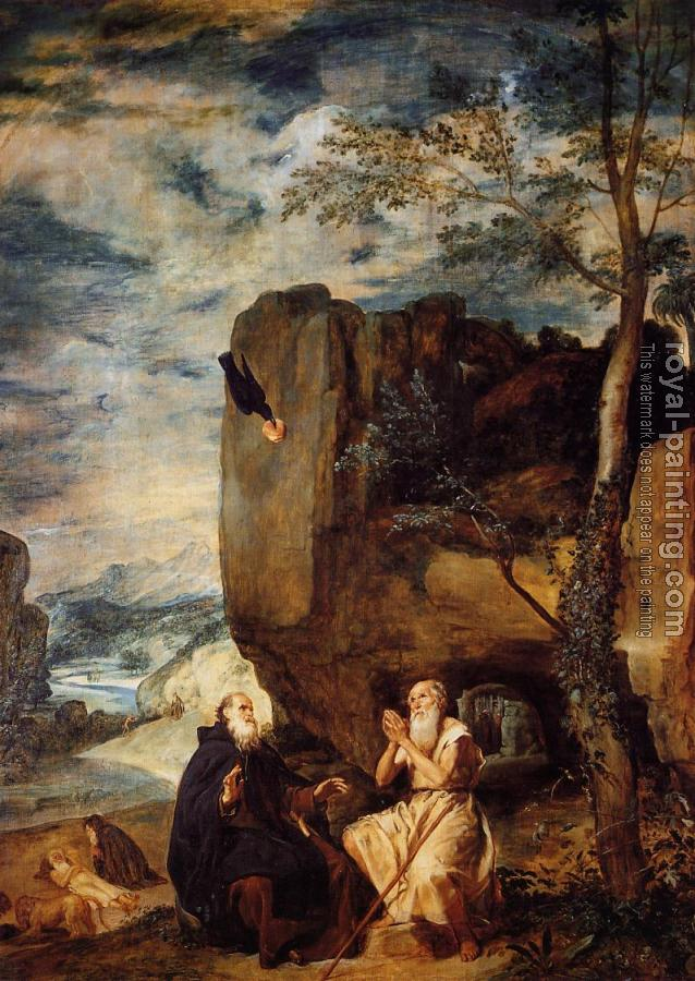 Diego Rodriguez De Silva Velazquez : St. Anthony Abbot and St. Paul the Hermit