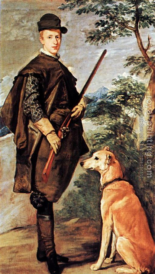 Diego Rodriguez De Silva Velazquez : Portrait of Cardinal Infante Ferdinand of Austria with Gun and Dog