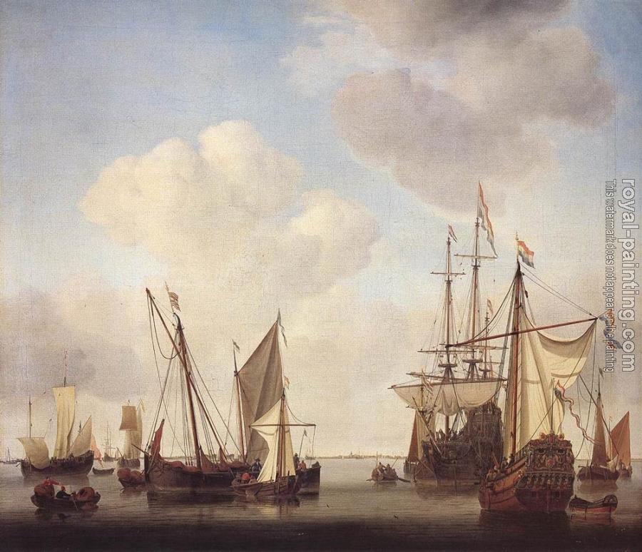 Willem Van De Velde The Younger : Warships at Amsterdam