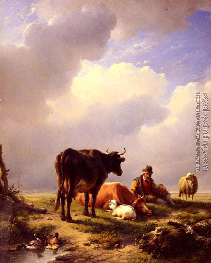 Eugene Joseph Verboeckhoven : A Farmer At Rest With His Stock
