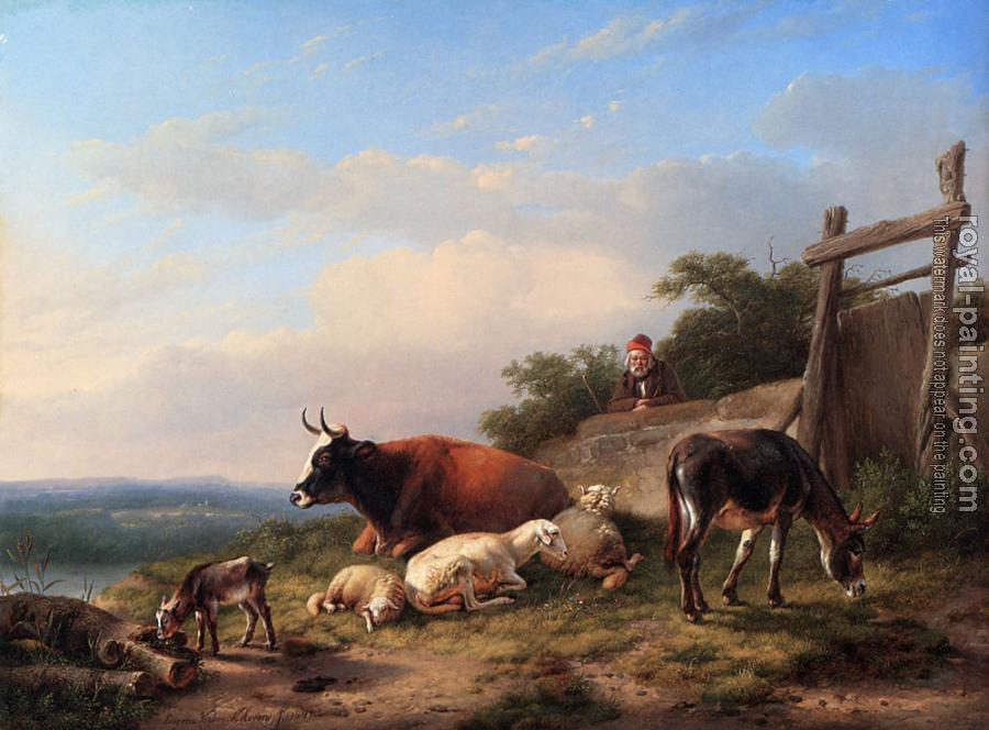 Eugene Joseph Verboeckhoven : A Farmer Tending His Animals