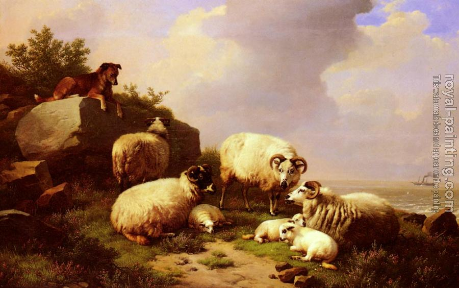 Eugene Joseph Verboeckhoven : Guarding The Flock By The Coast