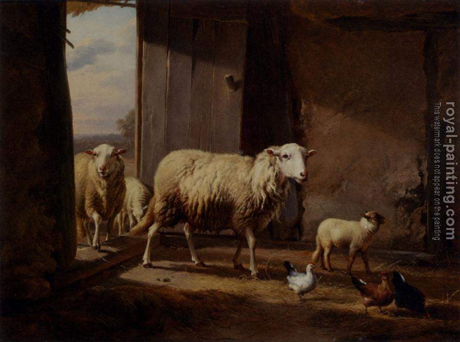 Eugene Joseph Verboeckhoven : Sheep Returning From Pasture