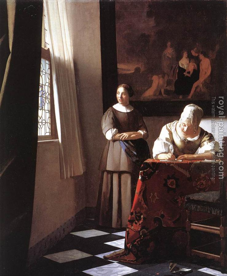 Johannes Vermeer : Lady Writing a Letter with her Maid