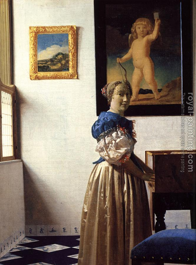 Johannes Vermeer : A Lady Standing at a Virginal II