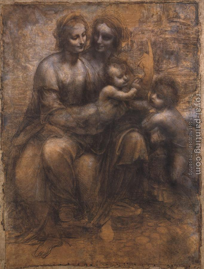 Leonardo Da Vinci : Madonna and Child with St Anne and the Young St John