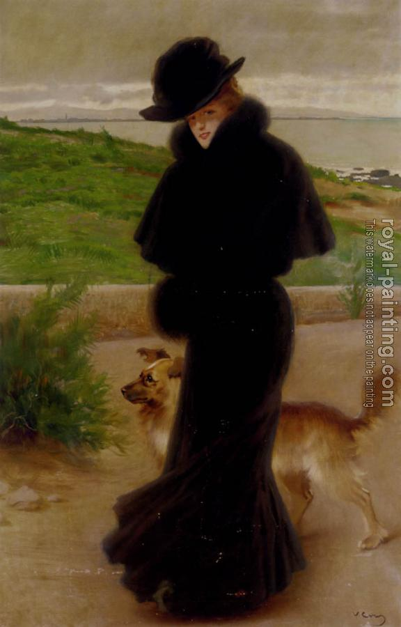 Vittorio Matteo Corcos : An Elegant Lady With Her Faithful Companion By The Beach