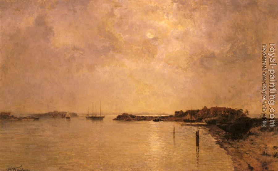 Alfred Wahlberg : Coastal Village By Moonlight