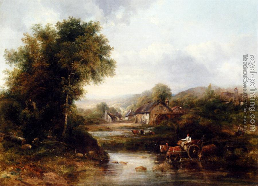 Frederick Waters Watts : An Extensive River Landscape With A Drover In A Cart With His Cattle