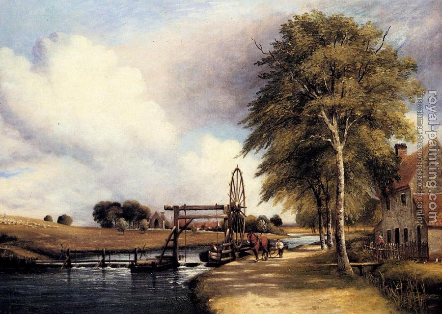 Frederick Waters Watts : The Lock At Santon On The Little Ouse In Norfolk
