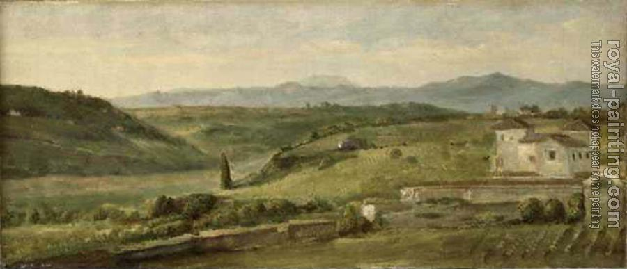 George Frederick Watts : Panoramic Landscape with a Farmhouse
