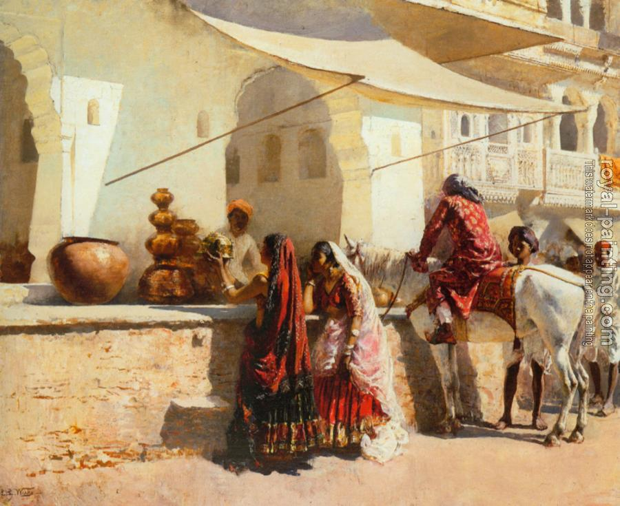 Edwin Lord Weeks : A Street Market Scene, India