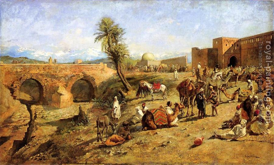 Edwin Lord Weeks : Arrival of a Caravan Outside The City of Morocco