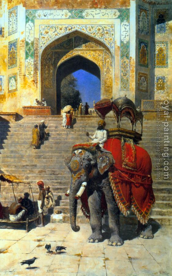 Edwin Lord Weeks : Royal Elephant at the Gateway to the Jami Masjid Mathura II