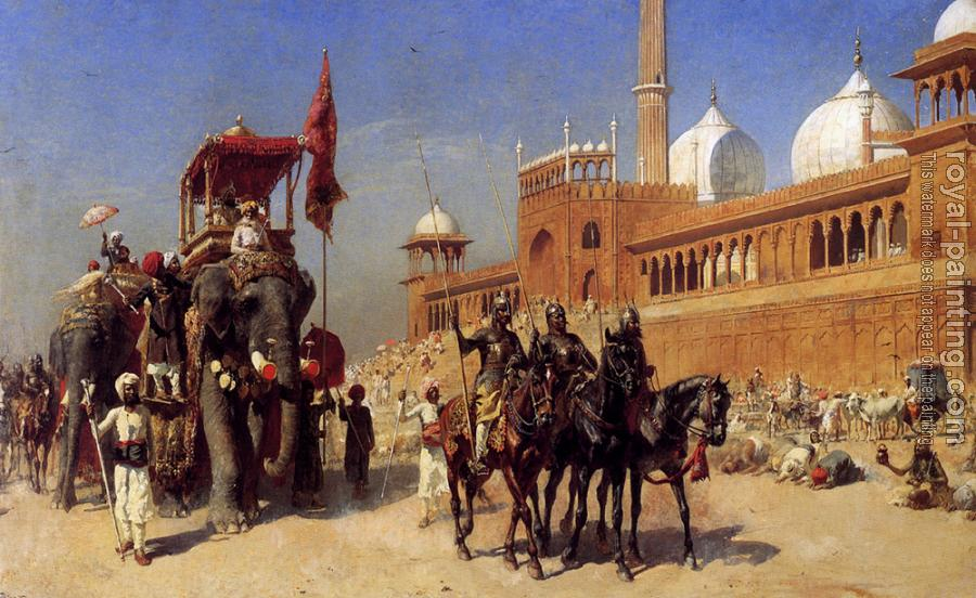 Edwin Lord Weeks : Great Mogul and his Court Returning From the Great Mosque at Delhi India