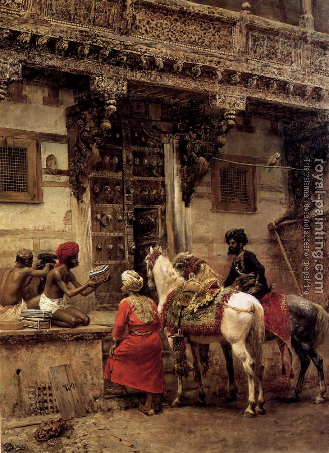 Edwin Lord Weeks : Craftsman Selling Cases By a Teak Wood Building Ahmedabad