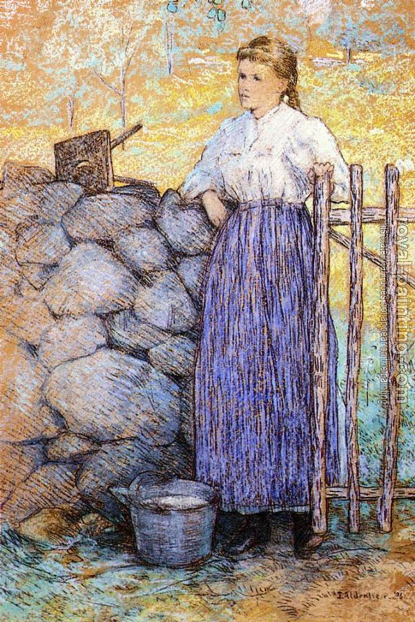 Julian Alden Weir : Girl Standing by a Gate